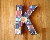 Wall Art Letter K, 12 inches tall, nursery, kids room, playroom decor