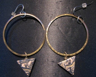 Hand Crafted Oxidized Brass Hoop Earrings With Leopardskin Jasper Triangles