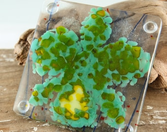 CATTLEYA Orchid Fused Glass Coaster (Ready To Ship)