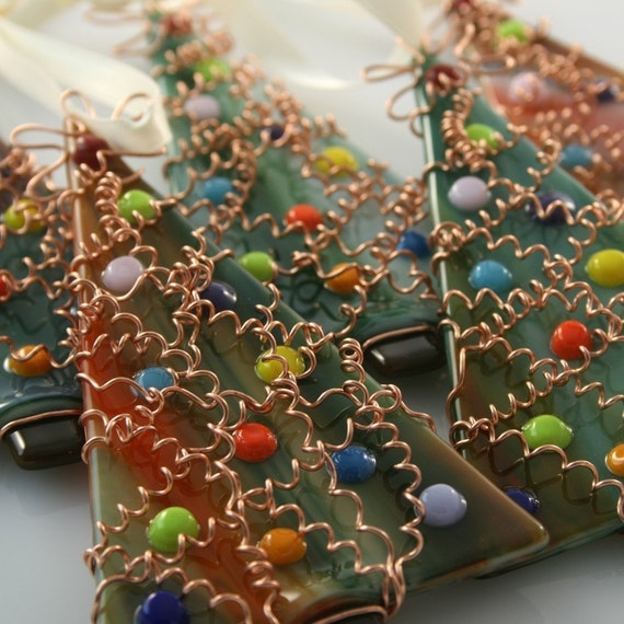Wire Wrapped Tree Fused Glass Ornament