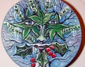 Winter Greenman Green Man Handpainted Box Cool