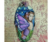 Night Fairy Handmade Clay and Handpainted Pendant with Glow in the Dark accents
