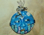 Halloween Full Moon Bewitched Witch Handpainted Face Pendant