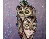 On Hold for avfarias  Great Horned Owl Goddess Mask Pendant Signed One of a Kind