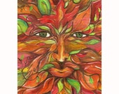 Limited Edition Autumn Greenman Print ATC