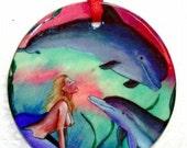 Topless Mermaid and Dolphins Porcelain Ornament WOW COOL