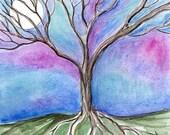 Winter Tree & Full Moon Watercolor Painting By Samantha Kocsis
