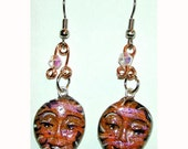 SALE Orange and Black Halloween Inspired Face Earrings