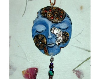 Pretty Blue Steampunk Watch Face Pendant Cool and One of a Kind