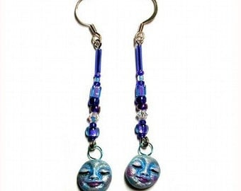 Are You Feeling Blue Earrings With Bead & Crystals