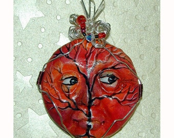 Autumn Sunset Winter Tree face pendant