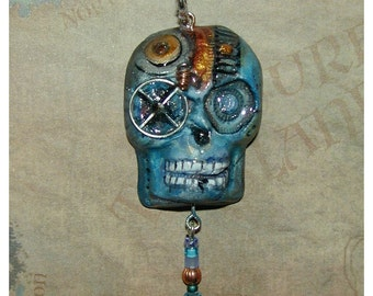 Blue Cyborg Steampunk Halloween Skull Pendant with Watch Gear monocle