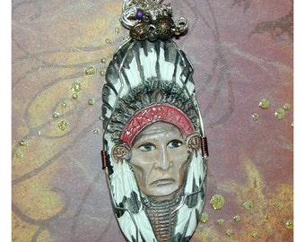 Native American Indian Chief Hand Painted Pendant