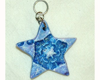 SALE Star Snowflake Let it Snow Winter Double Sided Pendant