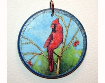 Red Cardinal in tree double sided pendant