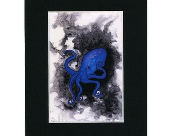 Purple and Blue Octopus Print 1 of 250