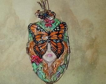 Monarch Butterfly Goddess Pendant Summer Fun