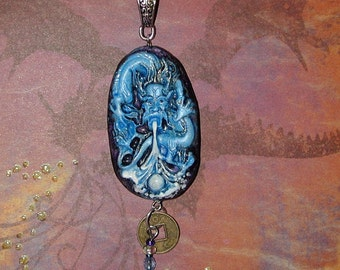 Blue Dragon of dreams Hand Crafted Pendant