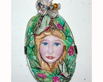hummingbird and Goddess of the Forest Handmade Pendant