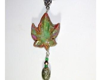 Festive Autumn Leaf Hand Painted  Pendant