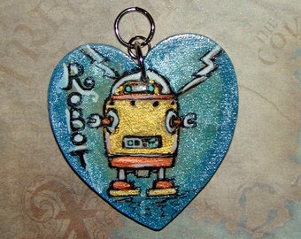 Robot Love Great for the Geek that Has your Heart Pendant