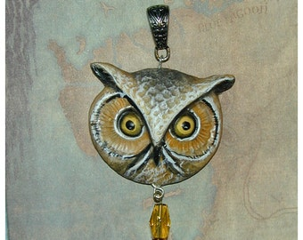 Great Horned Owl Head  Pendant