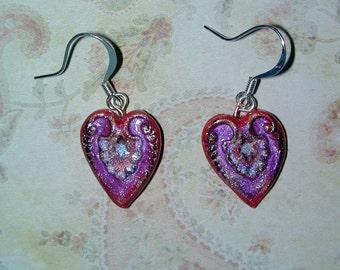 Wonderful Iridescent Valentines Day Heart Earrings