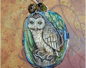 Stunning Owl in a Tree Handmade Pendant