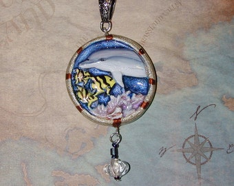 Dolphin Swimming in the Ocean handpainted Pendant