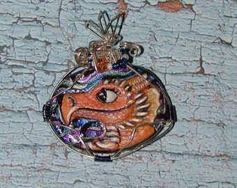 Fire Orange Red Baby  Dragon Handpainted Pendant Cool and fun