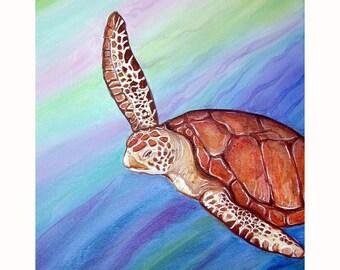 Adult Non Mutant Non Ninja Turtle Original Painting Acrylic on Canvas Sea turtle
