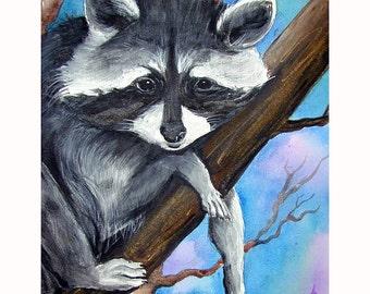 Rascal the little Raccoon Original Painting Acrylic on Canvas
