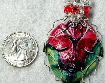 RED ROSE FLOWER FACE wire wrapped pendant
