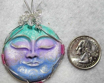 Sleeping Spiral Moon Face Handpainted Pendant DREAMY