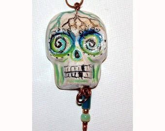 Day of the Dead Halloween Skull El Dia de los Muertos OOAK Pendant
