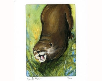 Laughing River Otter Signed and Numbered Print