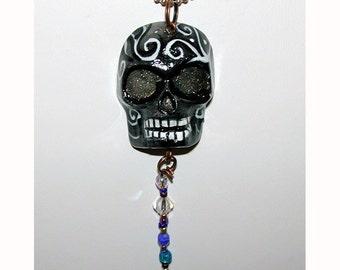 Black and White Skull Halloween El Dia de los Muertos OOAK Pendant