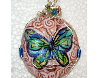 BUTTERFLY LADY FACE OOAK Handpainted Pendant