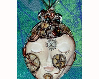 Steampunk Girl  Face Pendant