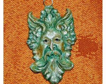 Clay GREENMAN Green Man Handcrafted Pendant by Samantha Kocsis