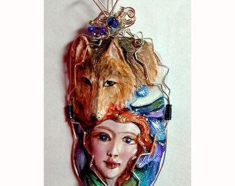 WOLF Goddess Handpainted Clay Pendant Pendant Canis lupus