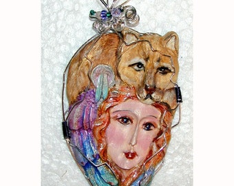 Cougar Mountain Lion Goddess Pendant Handmade