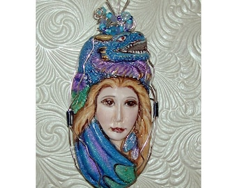 DRAGON GODDESS Fantasy Blue Purple Pendant Wire Wrapped
