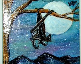 Bats Night Scene with Full Moon Jewelry Box