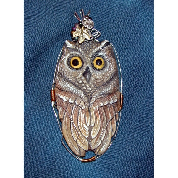 Great Horned Owl Hand made and Hand Painted Pendant
