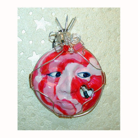 SALE Peppermint Dream handpainted face pendant with cut out heart