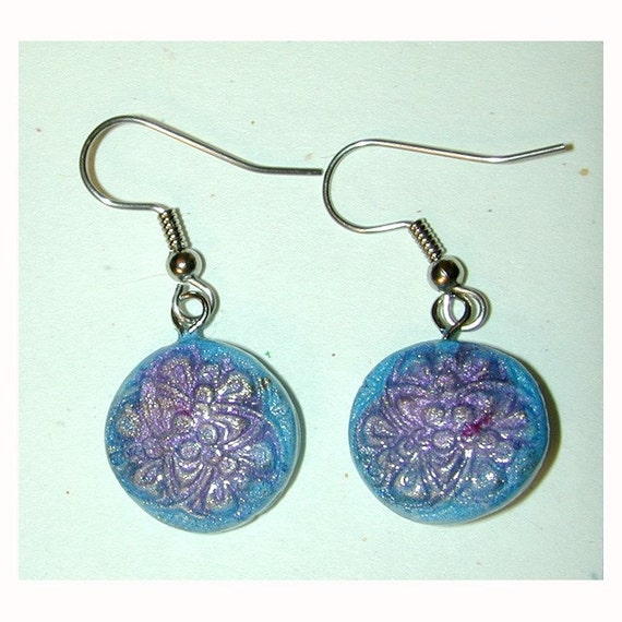 Romantic Blue and Pink Celtic Knot Earrings