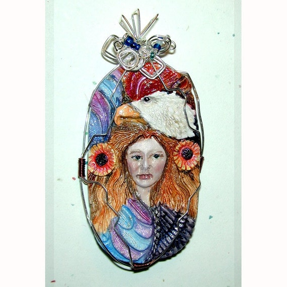 BALD EAGLE Totem Animal  Goddess of the Air Pendant Handpainted