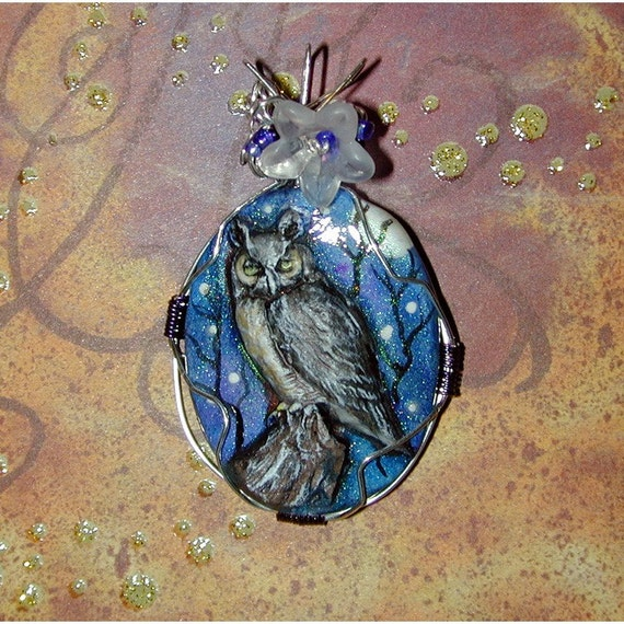 Great Horned Owl Hand Painted OOAK Pendant Wearable Art