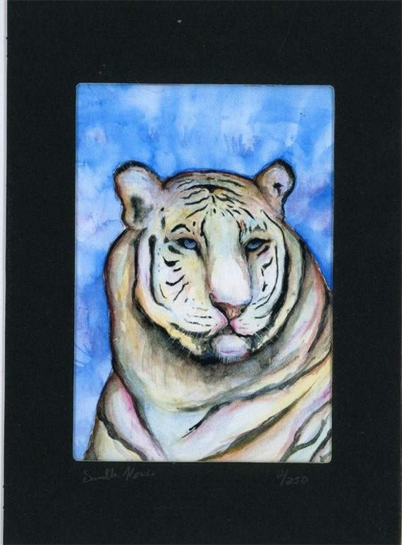 Pretty Tiger Watercolor painting print Number 2 of 250